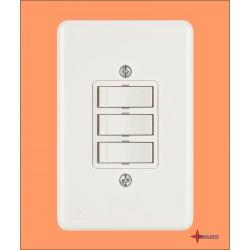 3 INTERRUPTORES SIMPLES C/ PLACA BRANCA COD. B2201